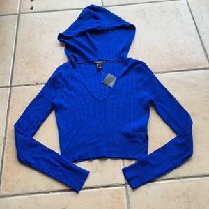Blue Ribbed Hooded Sweater Crop Top